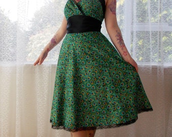 """1950s Rockabilly Peacock Dress """"Cassandra"""" with Peacock Feather Print, Black Satin and Lace Trim - Custom made to fit"""