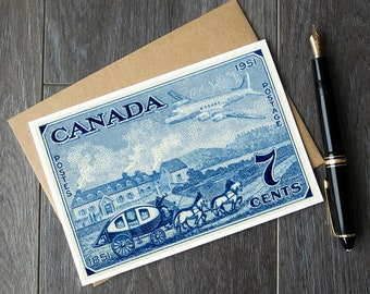 vintage airplane cards, vintage canada birthday card, canada day party cards, Canada 150 cards, vintage canadiana, canadian postage stamp