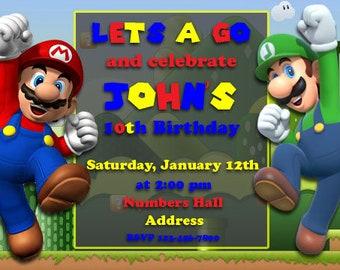 Mario and Luigi birthday invitation