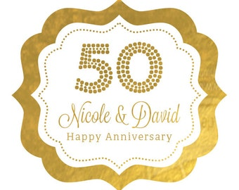 50th Anniversary Stickers - 50th Birthday Stickers - 50th Birthday Labels Personalized Gold Foil Labels (EB3020FW) set of 24| labels