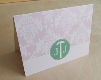 Personalized Custom Monogram Folded Notecard Damask Stationery Stationary - Set of 20