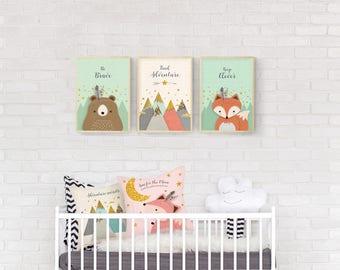 Woodland Nursery, Nursery Print, Nursery decor, Nursery, Animal Set of 3, Forest Friends, Nursery Forest Decor, bear, Fox, Mountains, Giclee