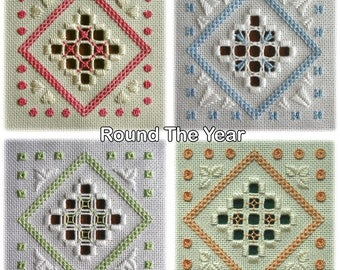 Hardanger embroidery - Round Dozen (set of 12 card-sized designs)