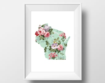 Wisconsin State Floral Printable Art, Wisconsin Print, Wisconsin, Modern Art, Floral Print, Vintage Floral, Victorian