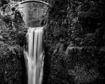 Multnomah Falls - Oregon - Landscape - Black and White - 8x10 to 24x36 - Art Print
