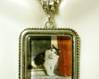 Cat on a window pendant with chain - CAP05-151
