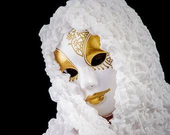Gold masquerade mask for women or men. Carnival Venetian costume party. Mardi Gras, halloween masks. Full face male female mask. White Gold