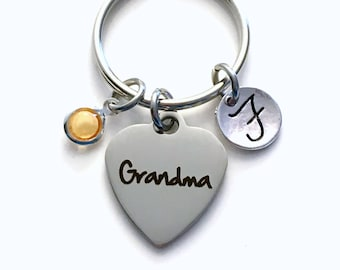 Gift for Grandma Keychain, Grandmother Key Chain, Mimi Keyring, Birthday Present, New Birthstone Initial Personalized Customized her women