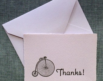 Mini Thank You Card and Envelope - Letterpress Thank You Card - Enclosure Card - Little Mouse