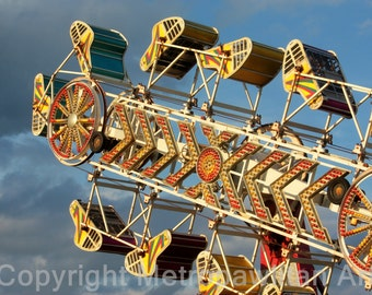 8x10 Photograph Carnival Ride and Blue Sky