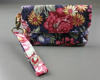 Pretty floral small clutch and wristlet with zippered pouch and pockets