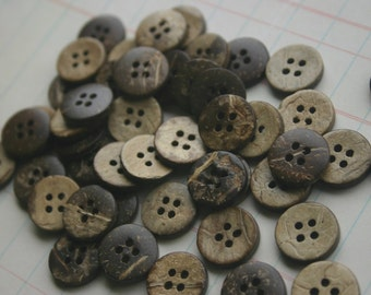 """Wood Buttons - Wooden Button - Coconut Wood Button Four Holes - 5/8"""" Wide"""