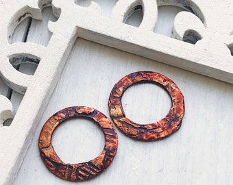 Forest Fantasy Rustic Beauty Molten ART Metalwork Copper Silver Earring Round pairs
