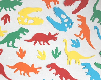 Dinosaur confetti, unique decorations for children's birthday parties, orange, red, blue, green and yellow dino shapes