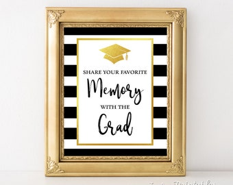 Share a Memory With the Grad Sign, Black & White Striped Graduation Party Sign, 8x10 inch, INSTANT PRINTABLE
