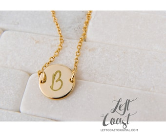 Initials Necklace Pendant Engraved Personalized Mothers Day Gift Hand Stamped Her Initials Rose Gold Silver