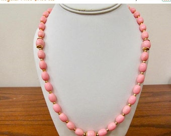 ON SALE Vintage Long Pink Plastic Beaded Necklace Item K # 2183