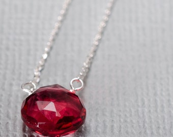 Dark Pink Quartz Little Rock Sterling Silver Necklace- Choose your semi precious stone