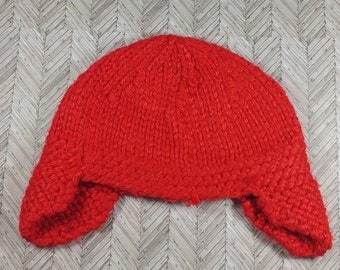 3-6 month old red aviator winter hat;  bulky 3-6 month old hat