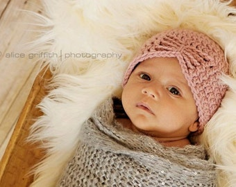 newborn girl hat, pink crochet baby beanie, warm fall take home hospital outfit cap, photo prop, gift for new mom, knit infant photography