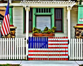 Patriotic, Old Home, Picket Fence, Flag, Old Glory, Americana, Stars & Stripes