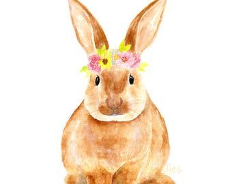 Bunny with Flower Crown Print, Watercolor Bunny, Nursery Rabbit, Bunny Illustration, Girls Room Decor, Cute Rabbit Picture, Nursery Animal