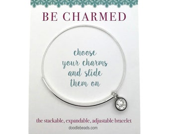 Wire charm bracelet, silver or gold bangle bracelet, stackable wire bracelet, expandable wire bracelet, adjustable wire bracelet, CZ charm