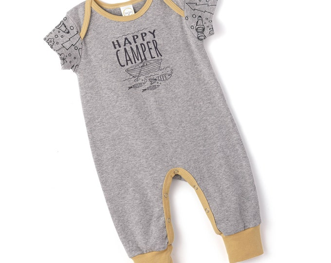 SALE! Newborn Baby Boy Outfit Summer, Baby Boy Onesie Outfit, Boy Romper, Baby Happy Camper Bodysuit, Infant Short Sleeve Baby Romper