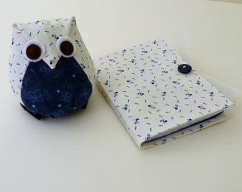 Owl Pincushion and Needlecase in dark blue and cream
