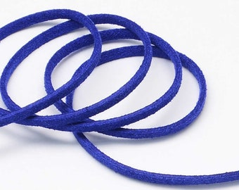 3 Yards Suede Cord Lace Faux Leather Cord - BLUE - 3 mm Width - Jewelry Making Beading Craft Thread String