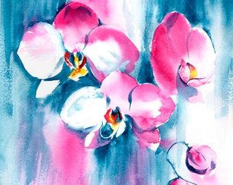 Orchid Painting, Original Watercolour Painting, Pink Orchid, Orchid Watercolor, Orchid Art, Floral Painting, Wall art, Flower painting