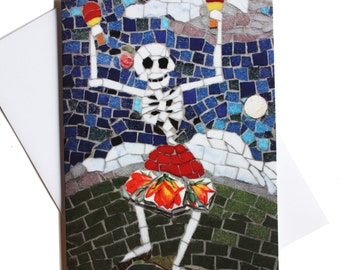 Day of the Dead birthday card, card for girlfriend, funny card, congratulations card, skeleton dancing