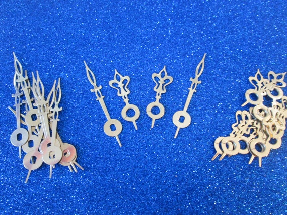 10 Pairs of New Shiny Brass Plated Steel Flower Design Clock Hands for your Clock Projects, Jewelry Making, Steampunk Art