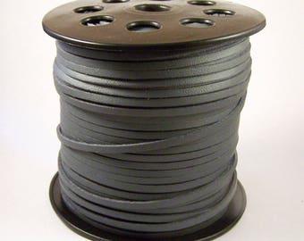 Faux leather cord flat grey dark 2.7 mm x 1 m