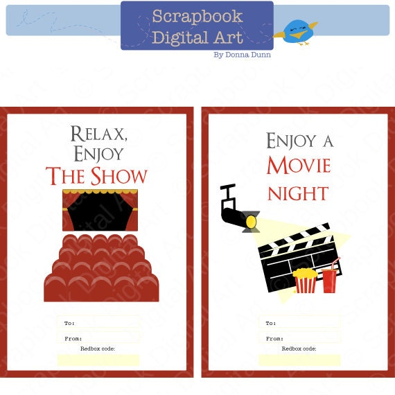 Printable Redbox Gift Card Tag Relax Enjoy The Show Movie