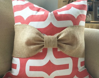 Burlap Bow Pillow Cover in Premier Prints Coral & White Embrace Fabric
