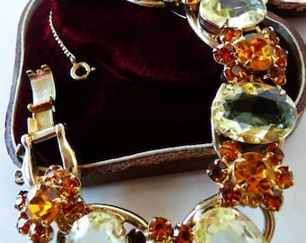 Juliana D&E 5 link rhinestone bracelet. Citrine topaz burnt orange. Verified vintage Delizza Elster bracelet. 1960s