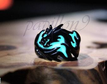 BLACK Dragon / Glow in the Dark / Dragon Ring / Stainless Steel Ring / Glow Ring / Dragon /