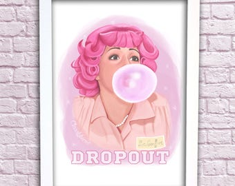 "Frenchy ""DROPOUT"" Grease Art Print  Illustration A3 PINK LADIES - Classyburd"
