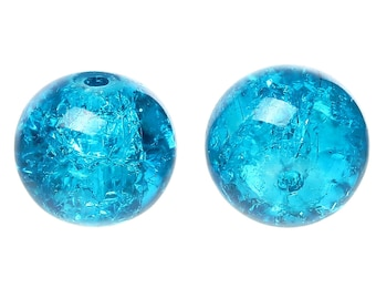 Round glass beads, Crackle effect, blue color