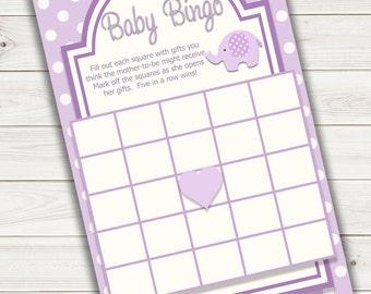 Baby Shower Bingo Card Purple Elephant~Printable~INSTANT DOWNLOAD