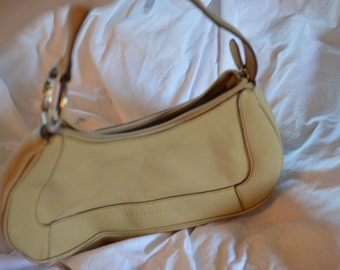 Vintage Franco Sarto bag, cream-tan, silver hoop/circle for keychains or scarf/charms; asymmetrical mod/art deco