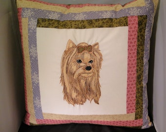 Embroidered Custom Yorkie Pillow Match your decor!