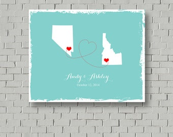 2 States Wedding Guest Book, Map Guest Book Canvas, Wedding Guest Book Sign, Guest Book Alternative, Wedding Poster, Wedding Map Guestbook