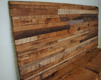 "Wood Wall Art Reclaimed Barn Wood Wall Hanging 52"" x 25"" Mural Tapestry Barnwood Sculpture Collage"