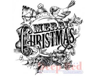 Deep Red Rubber Stamp Vintage Style Merry Christmas