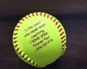 SALE Engraved Softball, Custom Message Softball, Softball Coach Gift, Softball Dad, Softball Gift, Laser Engraved Ball, Personalized Softbal