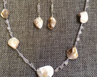 Delicate White Abalonee Shell and White Glass on Beaded Crochet Chain Necklace and Earrings Set