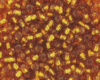 Seed beads topaz silver lined 2 mm 11/0 - 10 gram bag-