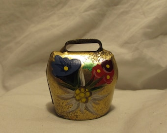 """Vintage Bell, Brass, Goat/Sheep, Bavarian Style, Hand Painted Flowers, """"Montreux"""", Souvenir"""